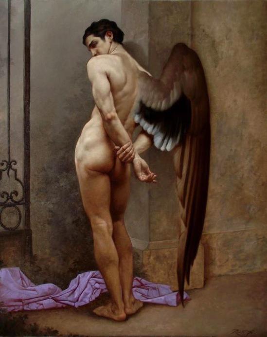00 L'ANGELO DELLA MORTE o L'ATTESA olio su tela 100 x 80 cm anno 2011